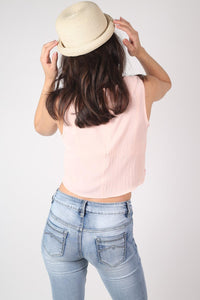Roll Up Straw Bowler Hat in Wheat 4
