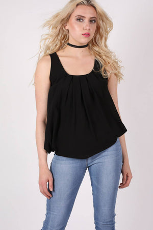 Pleat Front Bubblehem Sleeveless Top in Black MODEL FRONT