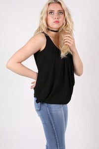 Pleat Front Bubblehem Sleeveless Top in Black MODEL SIDE
