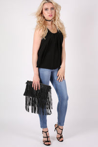 Pleat Front Bubblehem Sleeveless Top in Black MODEL FRONT 2