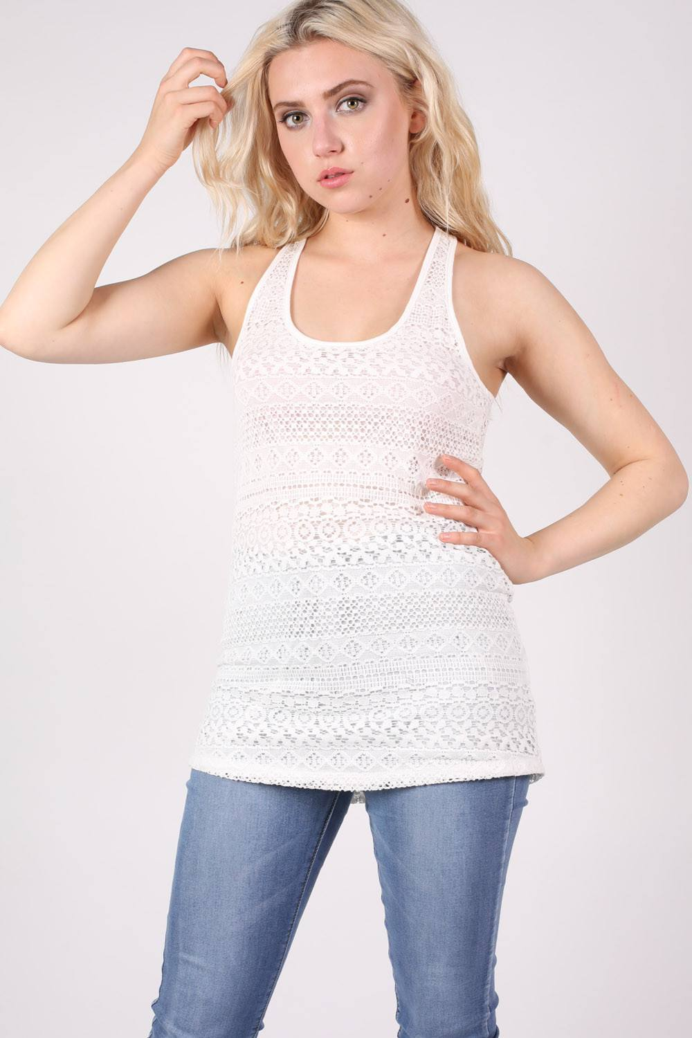 Sleeveless Crochet Top in Cream MODEL FRONT