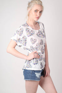 Floral Heart Print High Low Hem Oversized Top in Blue MODEL SIDE