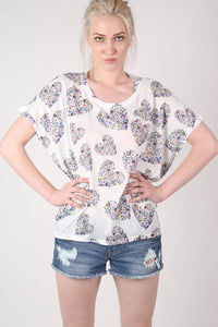 Floral Heart Print High Low Hem Oversized Top in Blue MODEL FRONT