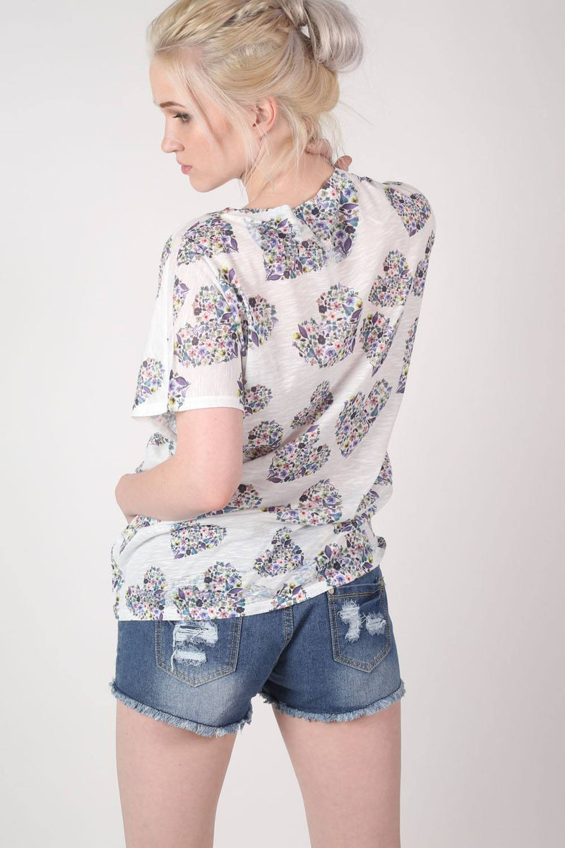 Floral Heart Print High Low Hem Oversized Top in Blue MODEL BACK