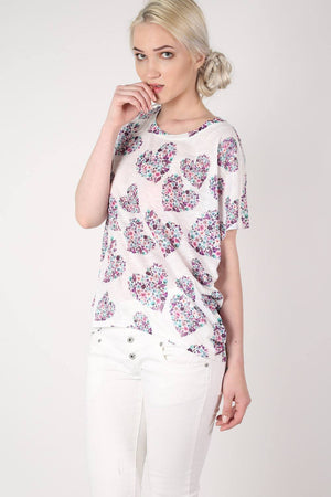 Floral Heart Print High Low Hem Oversized Top in Pale Pink MODEL FRONT