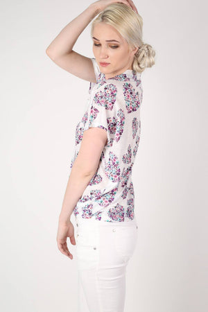 Floral Heart Print High Low Hem Oversized Top in Pale Pink MODEL SIDE