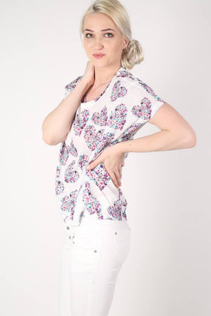 Floral Heart Print High Low Hem Oversized Top in Pale Pink MODEL SIDE 2
