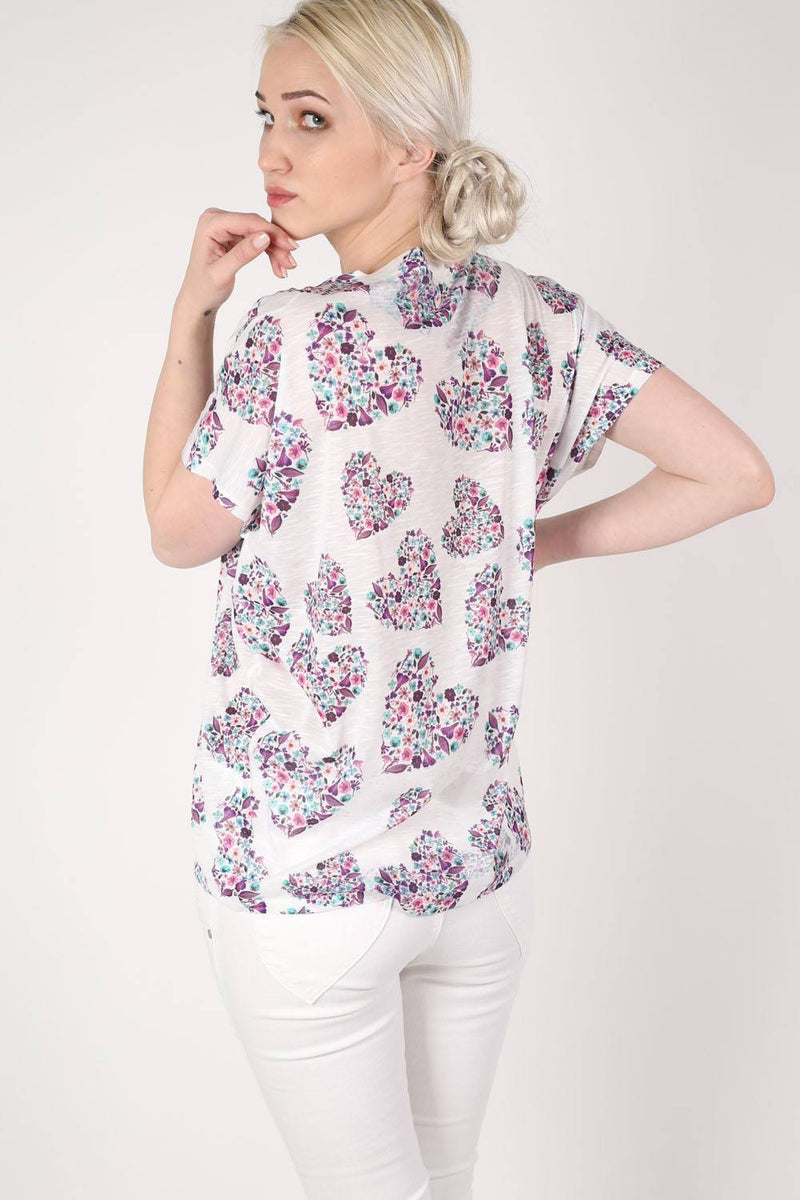 Floral Heart Print High Low Hem Oversized Top in Pale Pink MODEL BACK