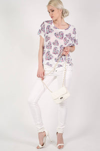 Floral Heart Print High Low Hem Oversized Top in Pale Pink MODEL FRONT 2