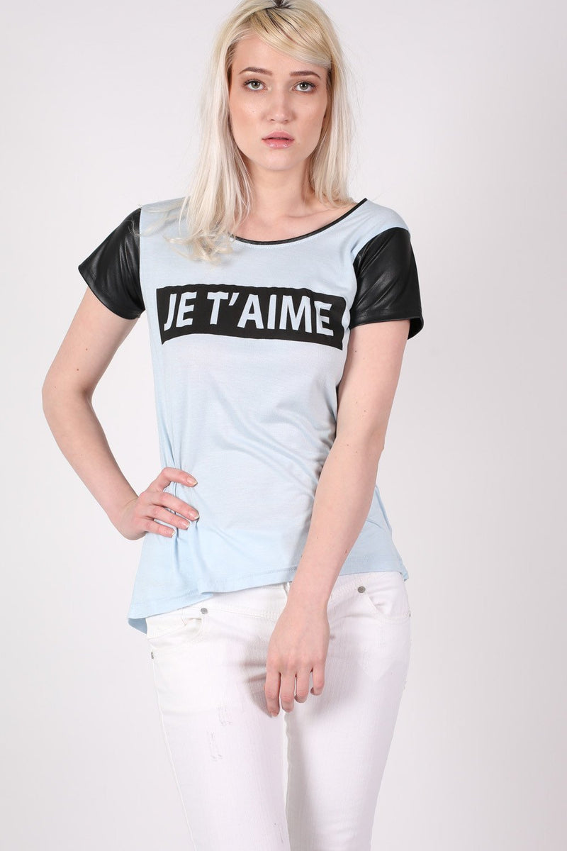 'Je T'aime' Print Contrast PU Sleeve T-Shirt in Dusty Blue MODEL FRONT