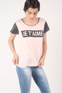 'Je T'aime' Print Contrast PU Sleeve T-Shirt in Pale Pink MODEL FRONT 2