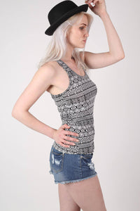 All Over Aztec Print Vest Top in Black & White 0
