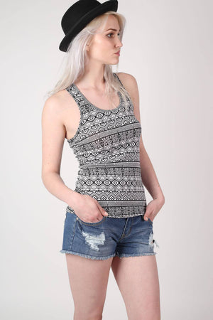 All Over Aztec Print Vest Top in Black & White 1