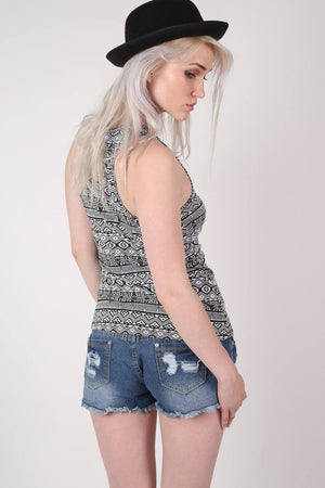 All Over Aztec Print Vest Top in Black & White 3