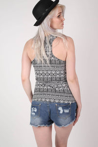 All Over Aztec Print Vest Top in Black & White 4