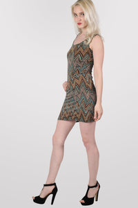 Chrissie Geometric Print Sleeveless Shift Dress in Tan Brown MODEL SIDE