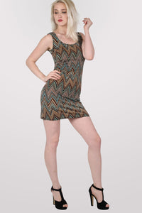 Chrissie Geometric Print Sleeveless Shift Dress in Tan Brown MODEL FRONT