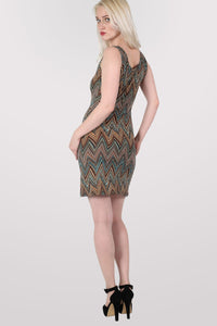 Chrissie Geometric Print Sleeveless Shift Dress in Tan Brown MODEL BACK