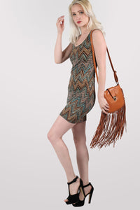 Chrissie Geometric Print Sleeveless Shift Dress in Tan Brown MODEL SIDE 2