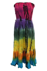 Strapless Tie Dye Print Midi Dress 2