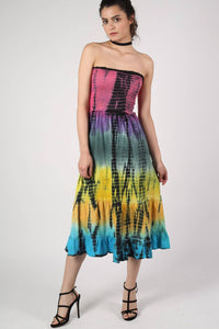 Strapless Tie Dye Print Midi Dress 0