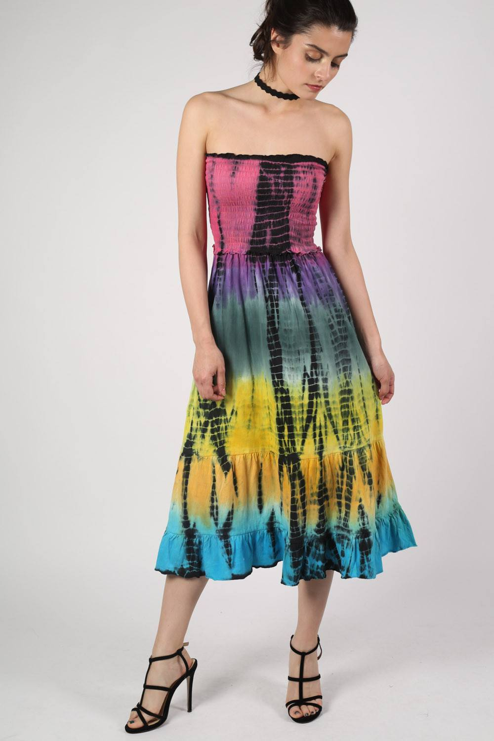 Strapless Tie Dye Print Midi Dress 1