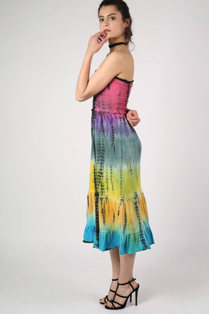 Strapless Tie Dye Print Midi Dress 3