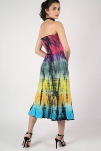 Strapless Tie Dye Print Midi Dress 4