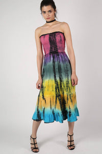 Strapless Tie Dye Print Midi Dress 5