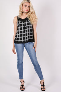 Check Print Sleeveless Top in Black MODEL FRONT 2