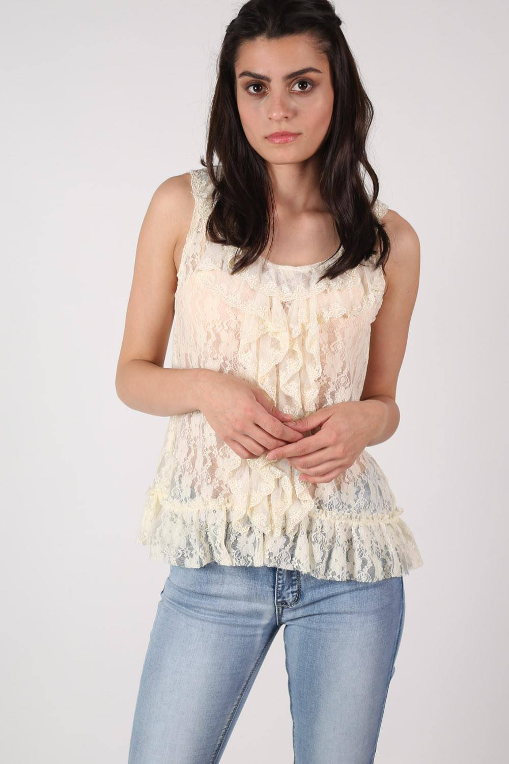 Frill Front Lace Sleeveless Top in Cream 0