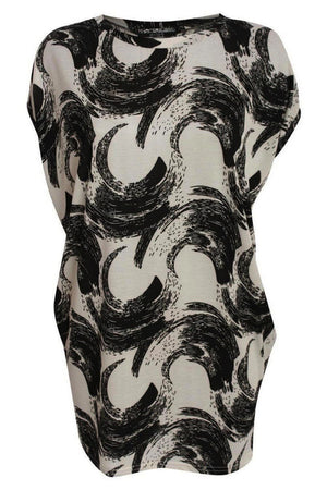 Brush Stroke Print Oversized Top in White 2