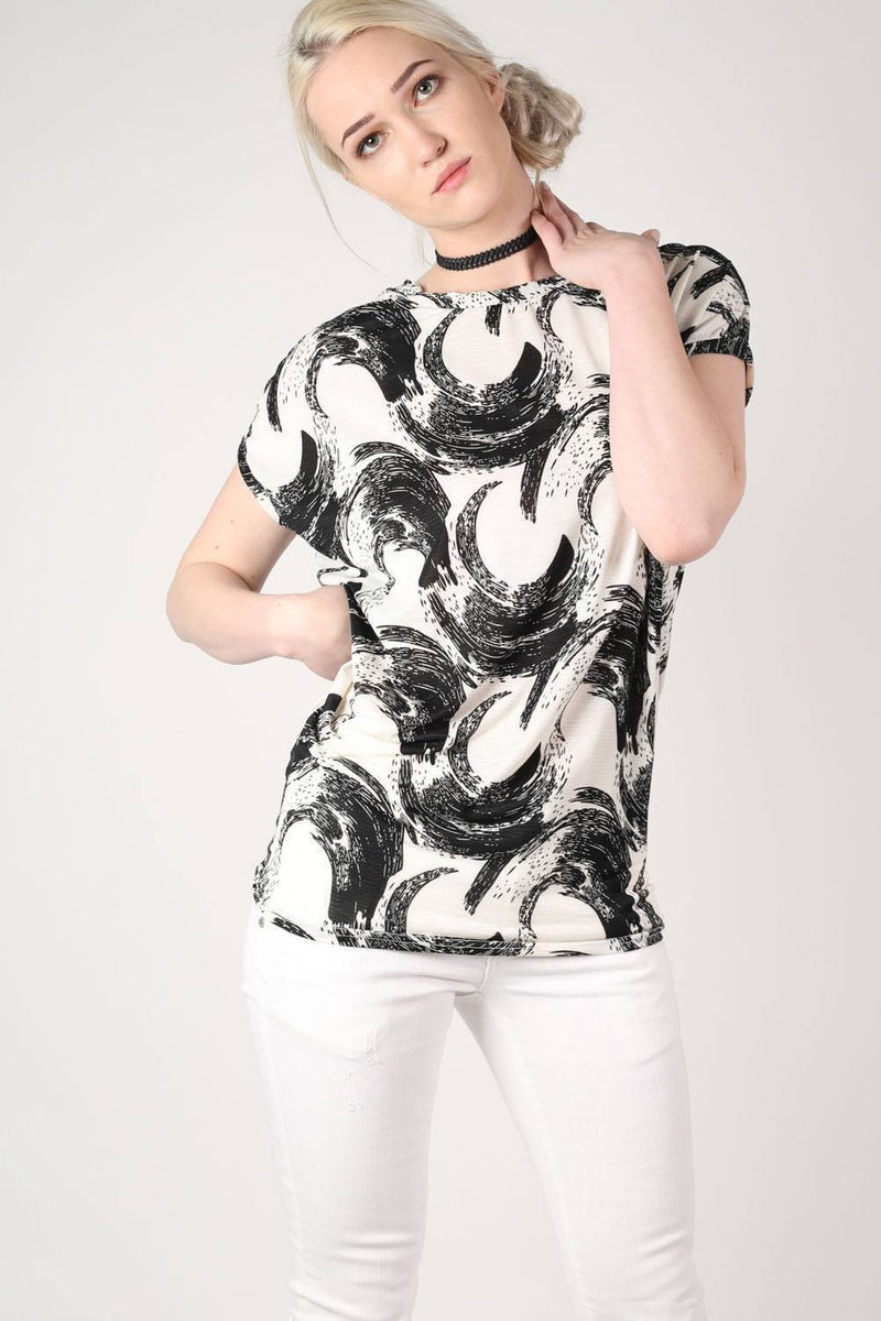Brush Stroke Print Oversized Top in White 0