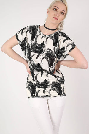 Brush Stroke Print Oversized Top in White 1