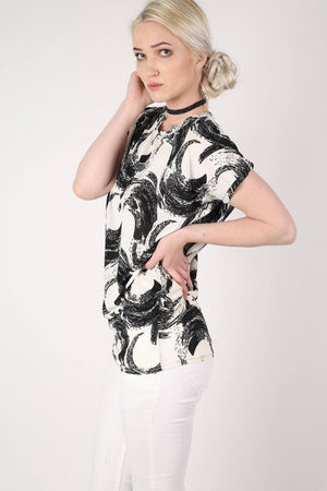Brush Stroke Print Oversized Top in White 3