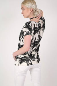 Brush Stroke Print Oversized Top in White 4