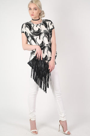 Brush Stroke Print Oversized Top in White 5