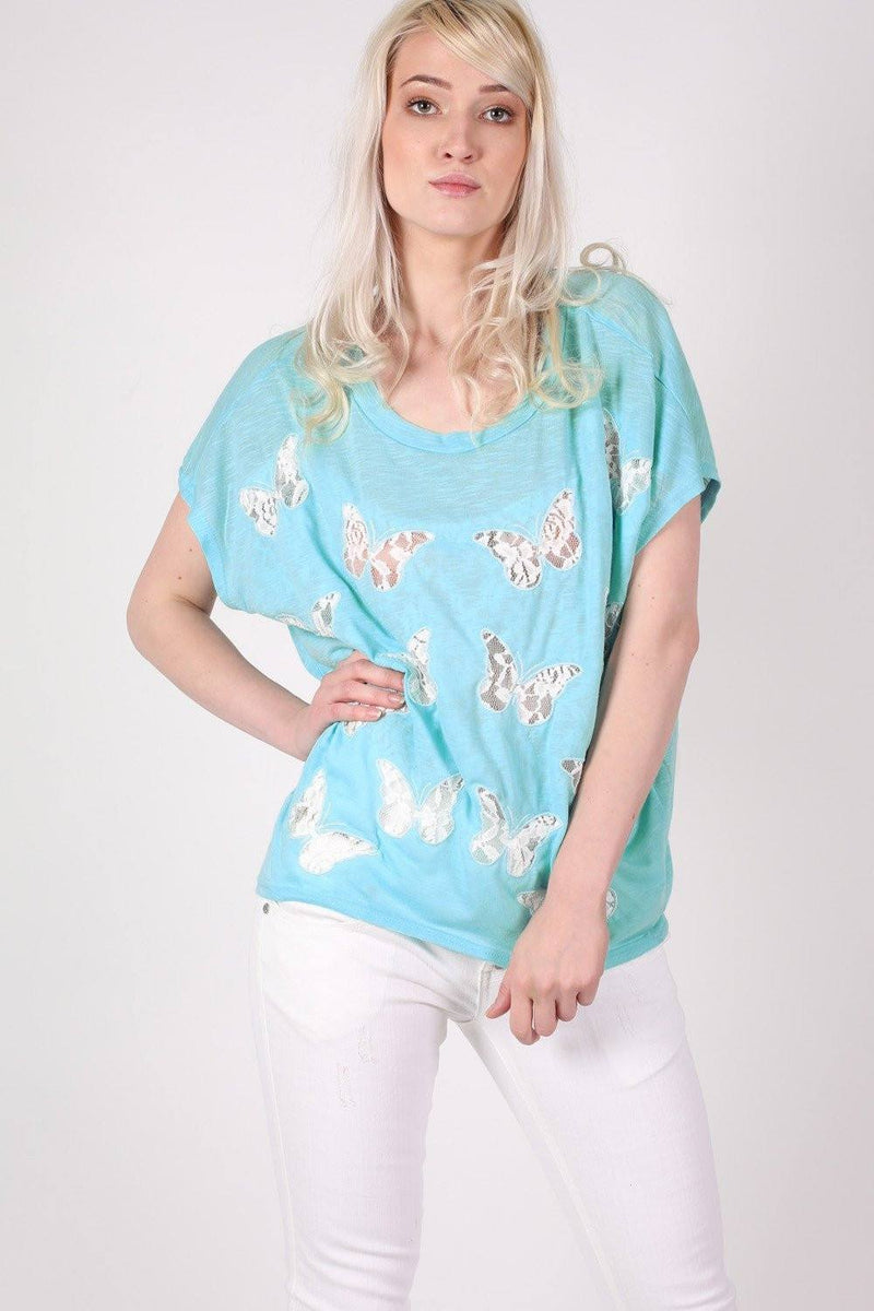 Multi Butterfly Lace Insert Oversized Top in Aqua Blue 0