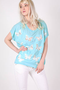 Multi Butterfly Lace Insert Oversized Top in Aqua Blue 1