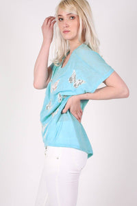 Multi Butterfly Lace Insert Oversized Top in Aqua Blue 2