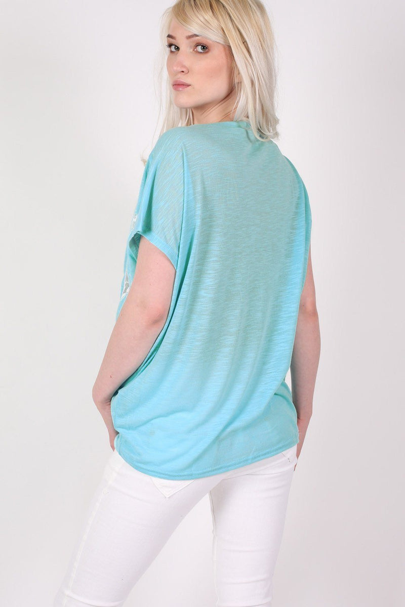 Multi Butterfly Lace Insert Oversized Top in Aqua Blue 3