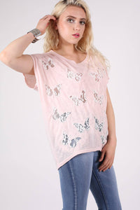 Multi Butterfly Lace Insert Oversized Top in Pink 0
