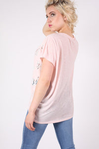 Multi Butterfly Lace Insert Oversized Top in Pink 1