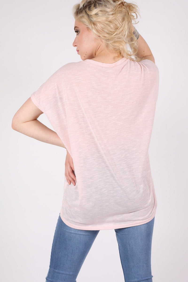 Multi Butterfly Lace Insert Oversized Top in Pink 2