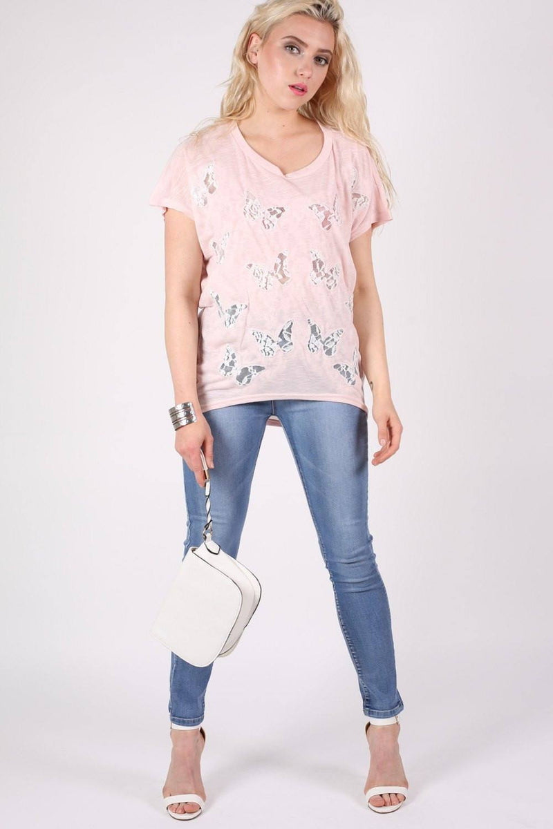 Multi Butterfly Lace Insert Oversized Top in Pink 3