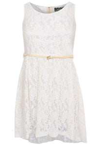 Floaty Lace Sleeveless Skater Dress With Belt in Cream 2