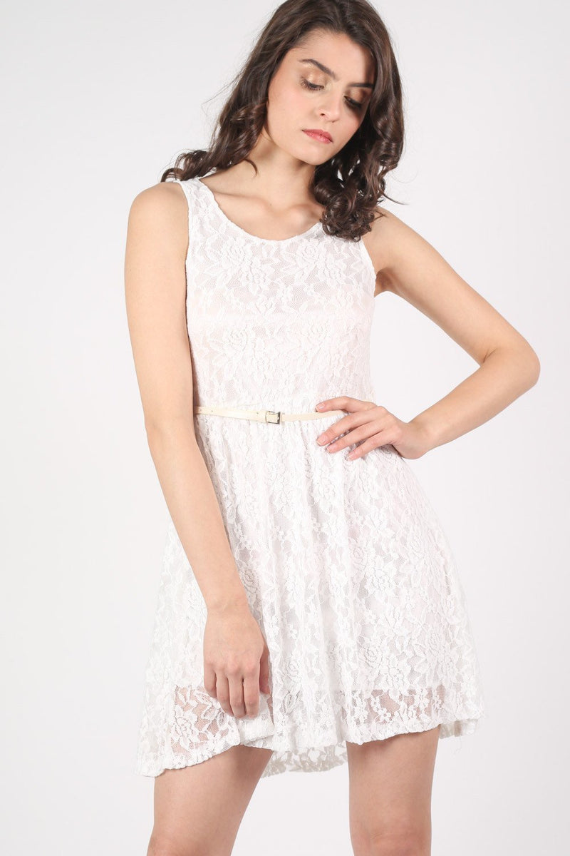 Floaty Lace Sleeveless Skater Dress With Belt in Cream 0