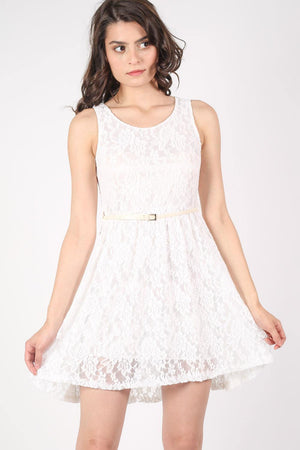 Floaty Lace Sleeveless Skater Dress With Belt in Cream 1