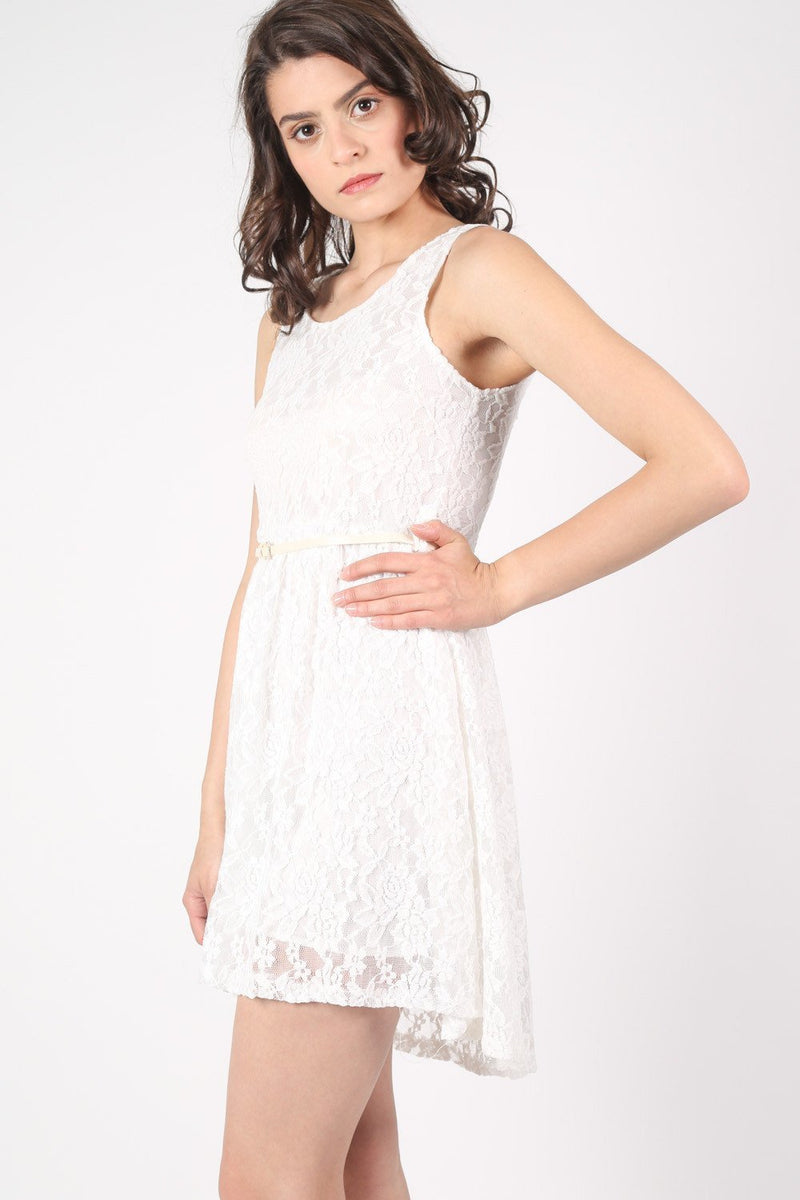 Floaty Lace Sleeveless Skater Dress With Belt in Cream 3