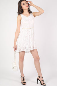 Floaty Lace Sleeveless Skater Dress With Belt in Cream 5